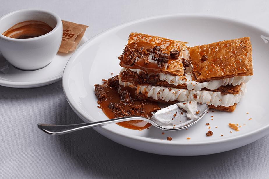 dessert cake and coffee