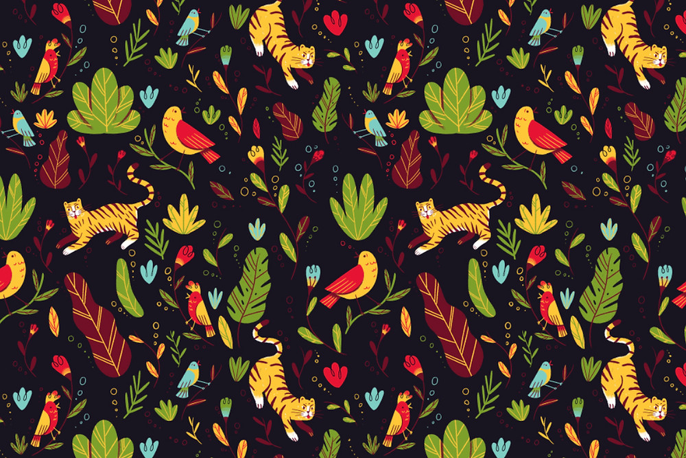 Seamless illustration pattern with animals and plants