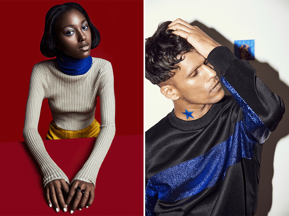 colorful fashion and beauty portraits of a black grils on a red background and a guy