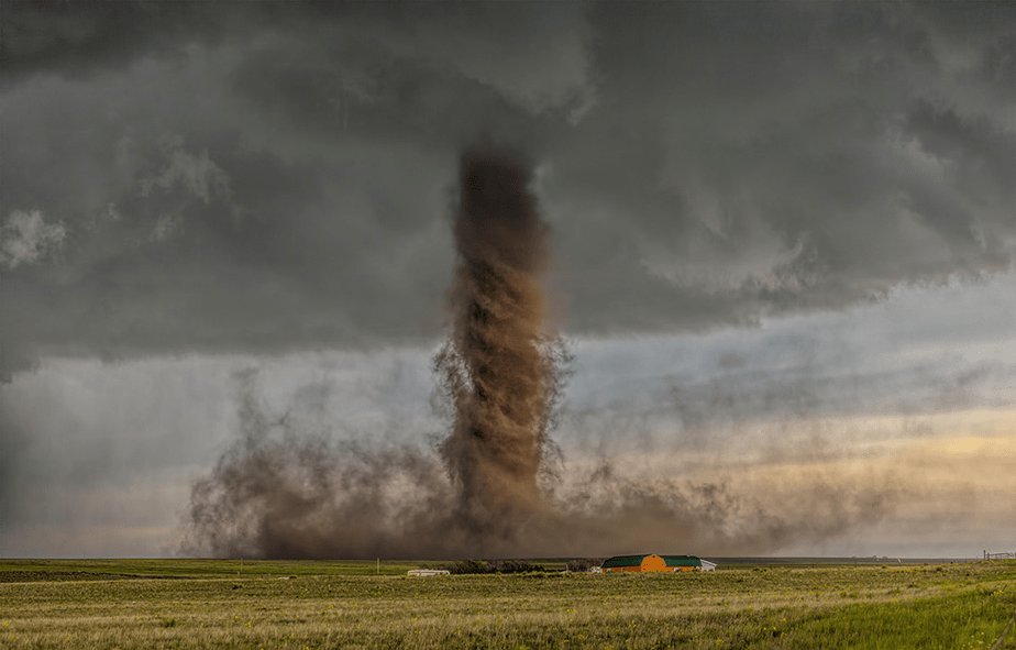 tornado reaching farm