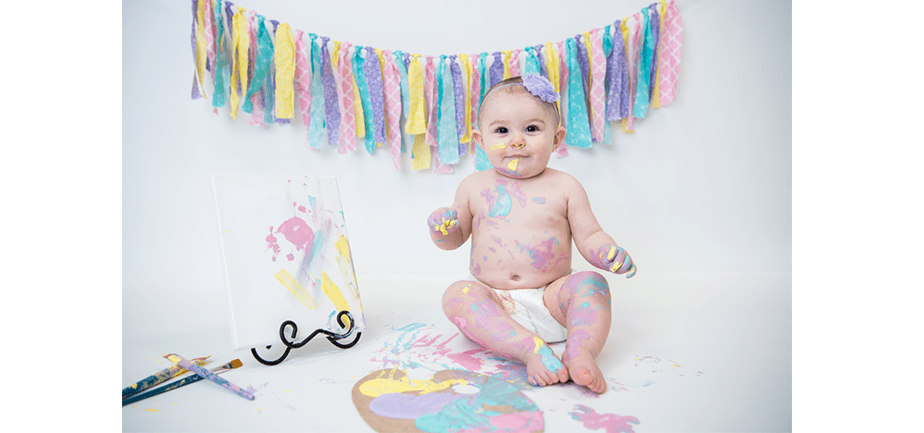 baby photo with paints