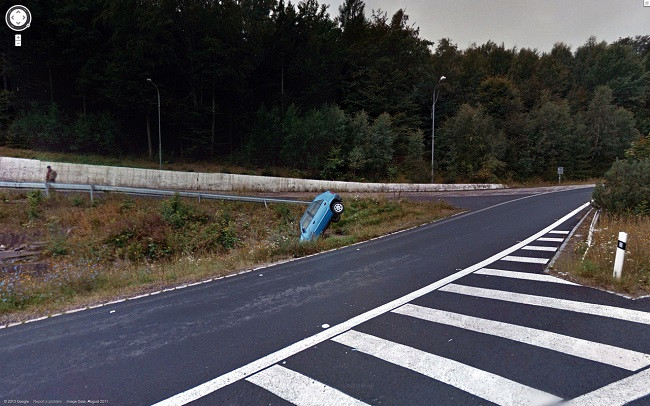 Weird Google Street View: Car Crash