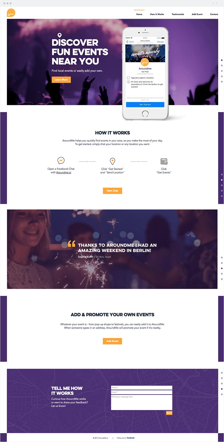 Around-ME Website using Wix Code - Facebook Messenger bot