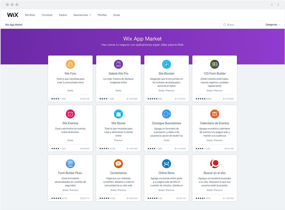 Apps Market de Wix