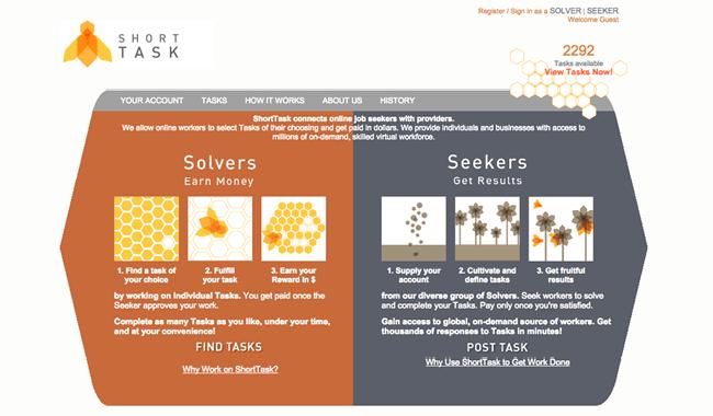 Captura de Pantalla de la página web ShortTask