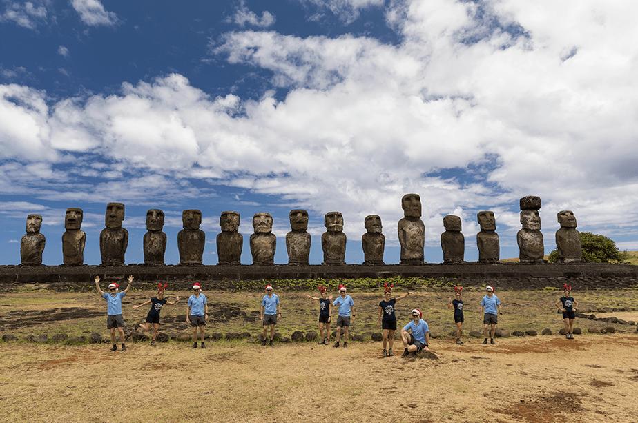 Fun times at Ahu Tongariki, Easter Island, Chile