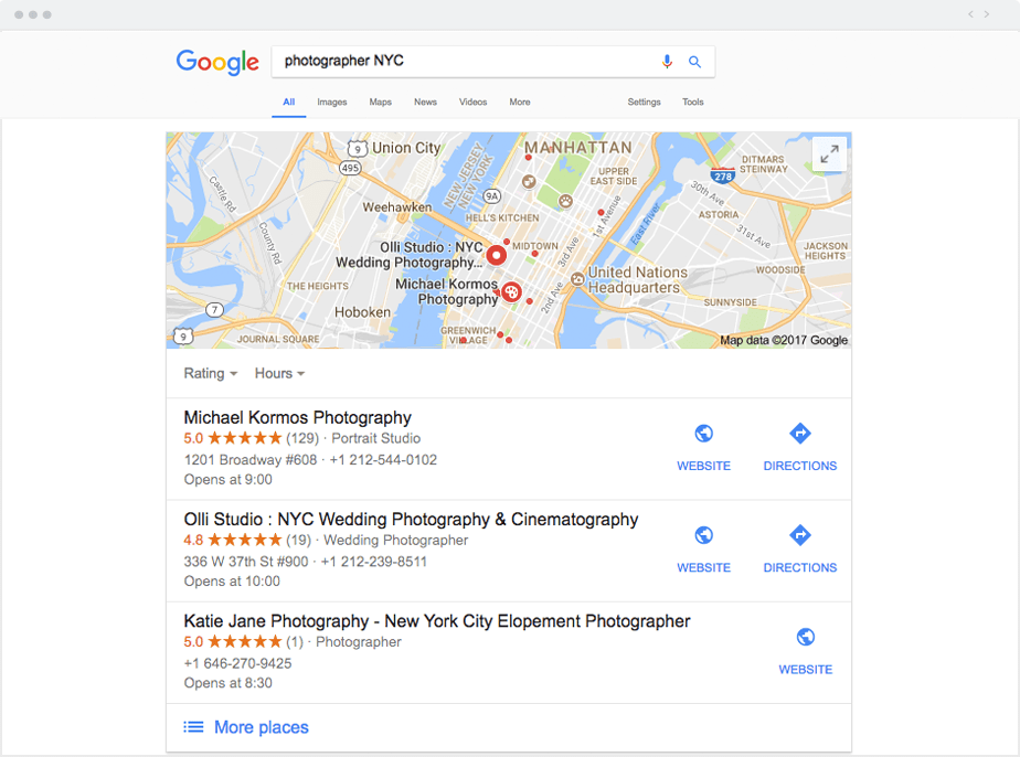 how to get your photography business on google maps local pack