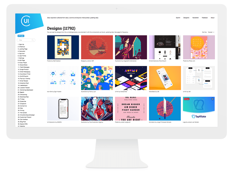 Onde Nossos Melhores Designers Encontram Inspiração na Internet: Collect UI