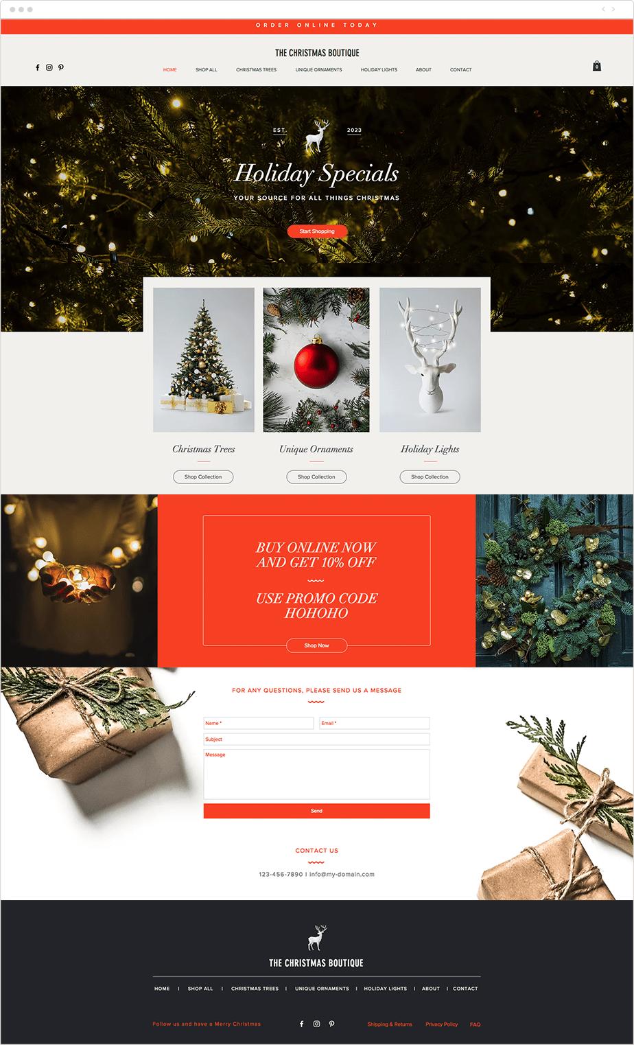 Template para Site de Loja de Natal