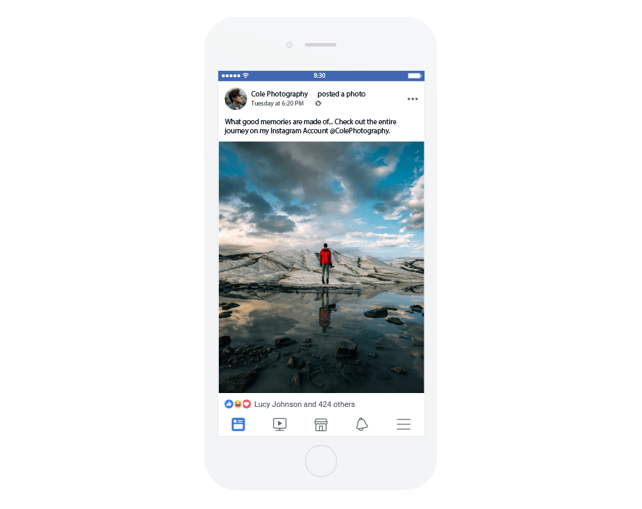 Facebook post sharing an Instagram photo of a guy standing on a rock in a lake at sunset