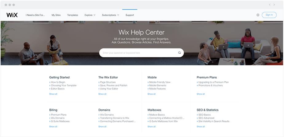 Wix's Online Help Center