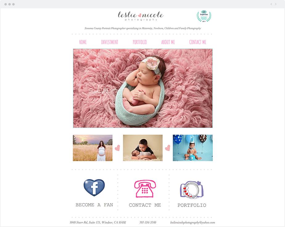 Stunning Wix online portfolio by newborn, baby and children photographer Leslie Nicole