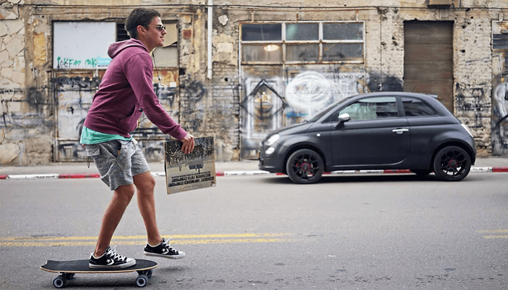 Skateboard in the streets of Tel Aviv