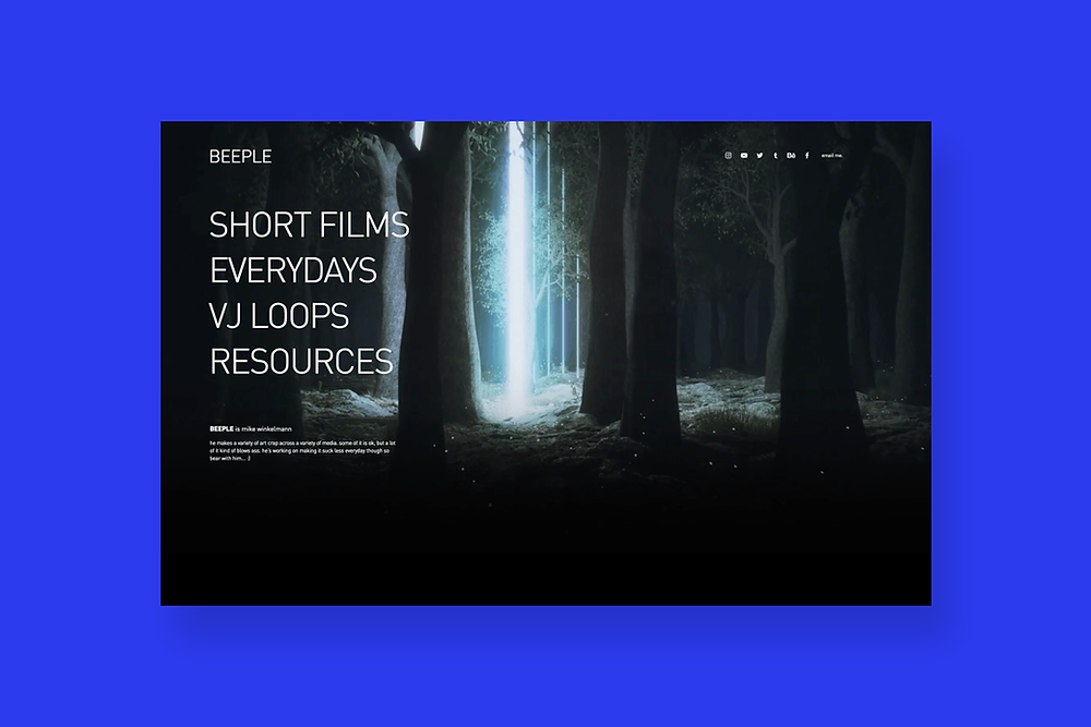Graphic design website inspiration by Beeple