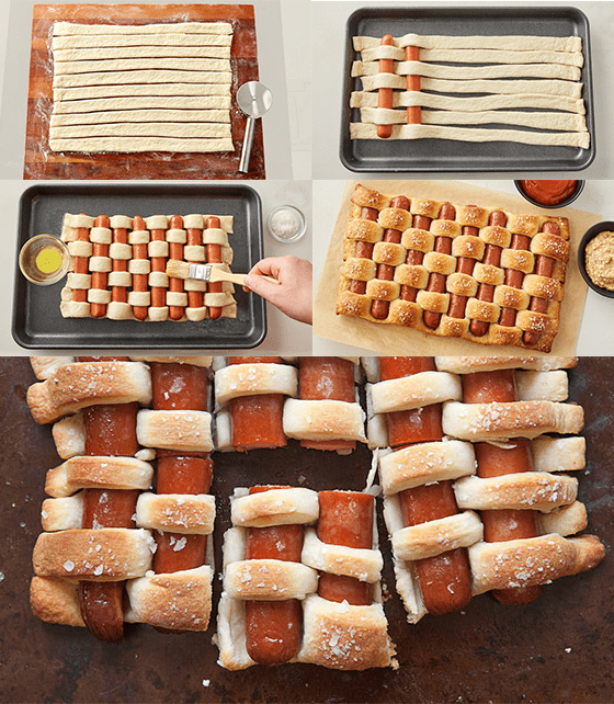 Picnic food ideas: woven hot dogs
