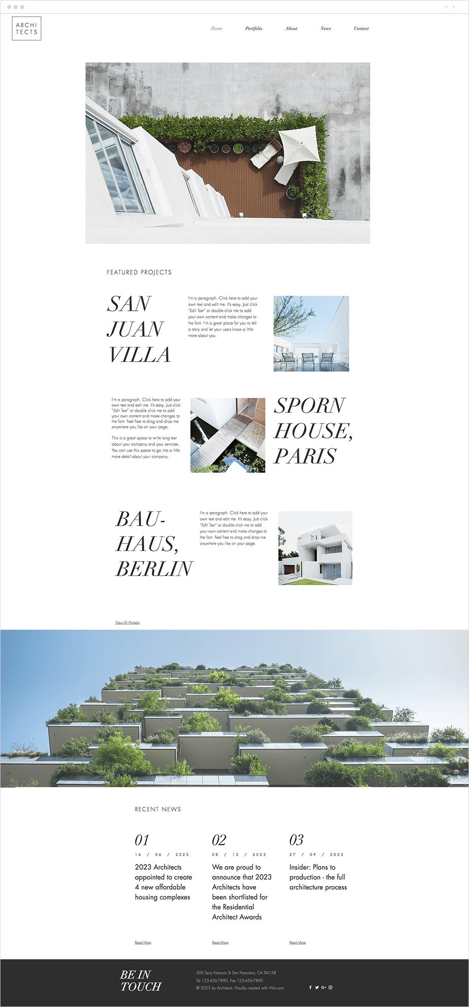 Template para Site de Arquitetos Residenciais