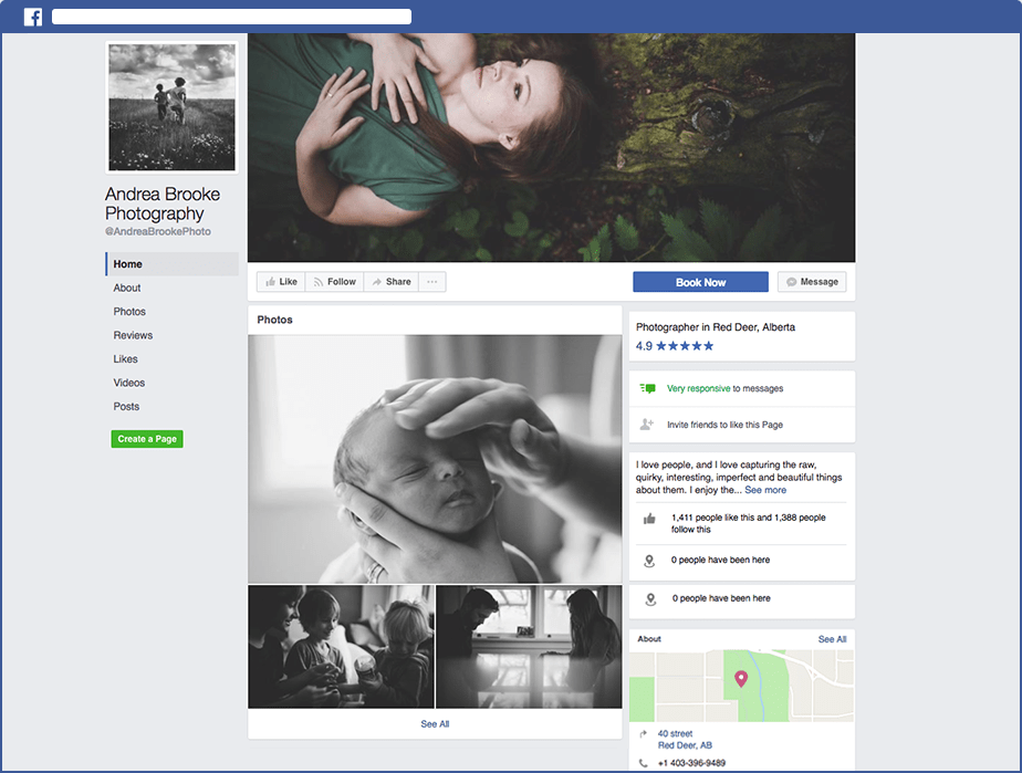 Screenshot of Facebook Page