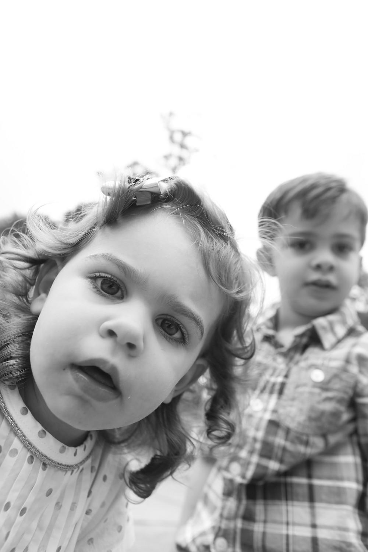 black and white photo of kids