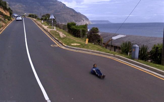 Weird Google Street View: Rolling down a hill