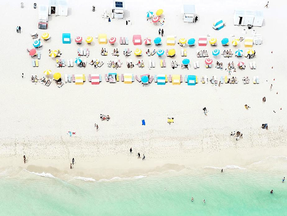 colorful beach aerial view