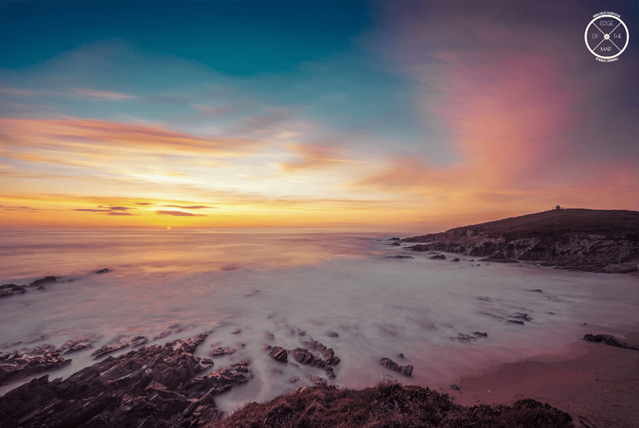 slow exposure of a sunset over the beach