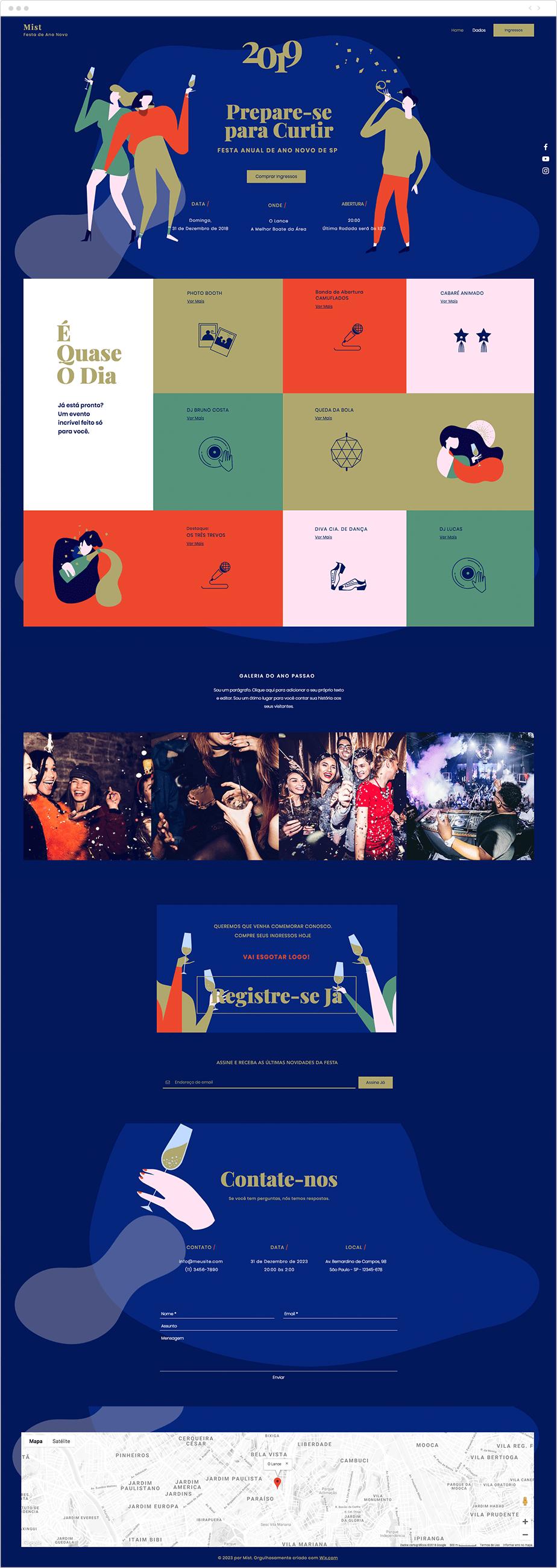 Template para Site de Festa de Ano Novo