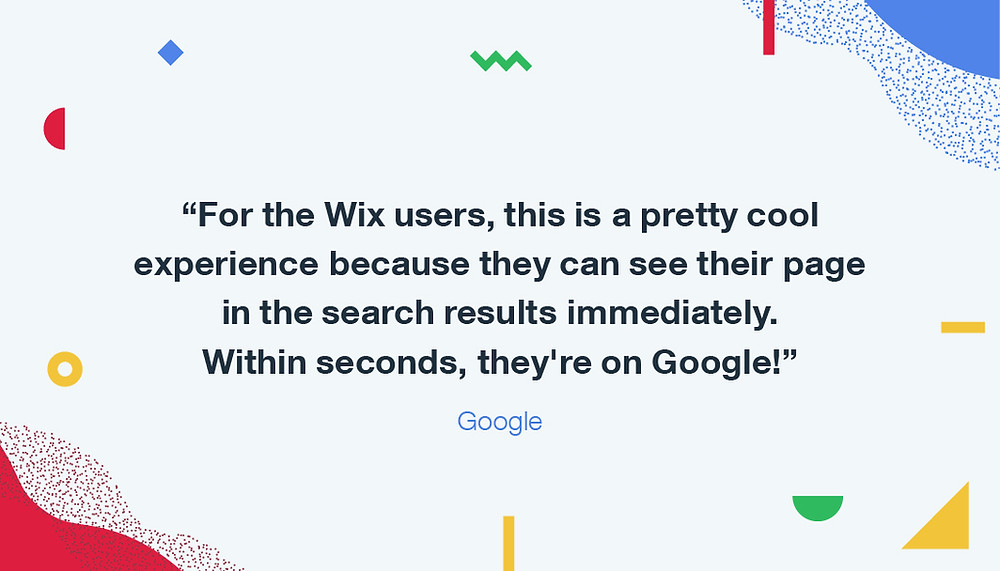 Your Wix website can be on Google in seconds