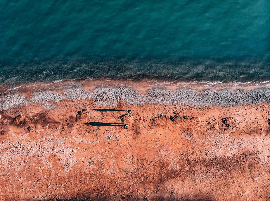 aerial view of people walking on lake ontario