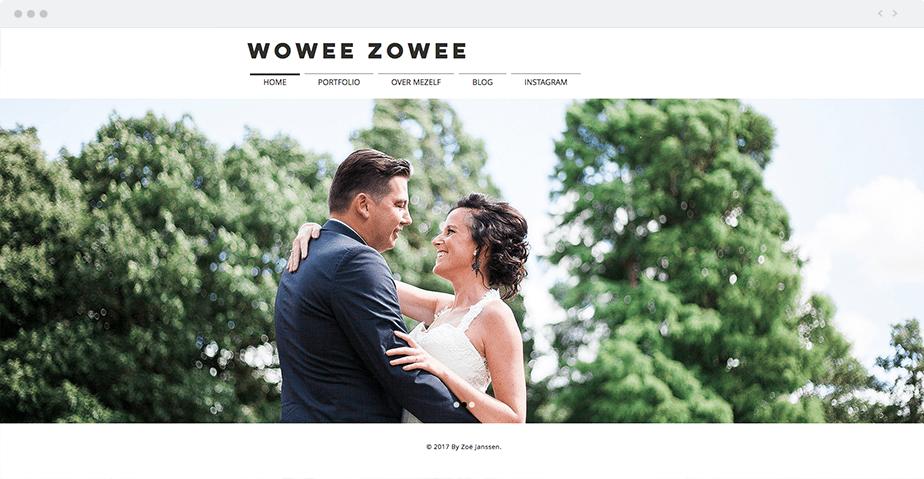 Vintage Wix online portfolio by wedding photographer Wowee Zowee