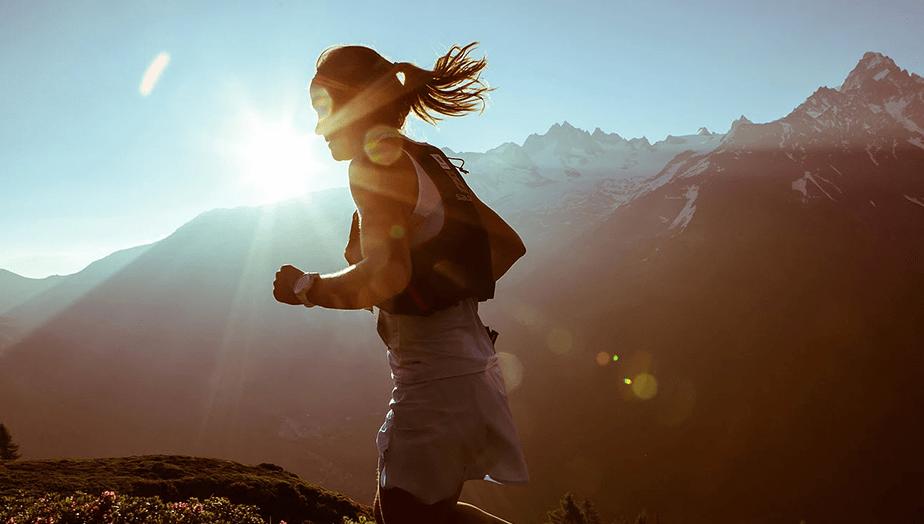 girl running on mountains