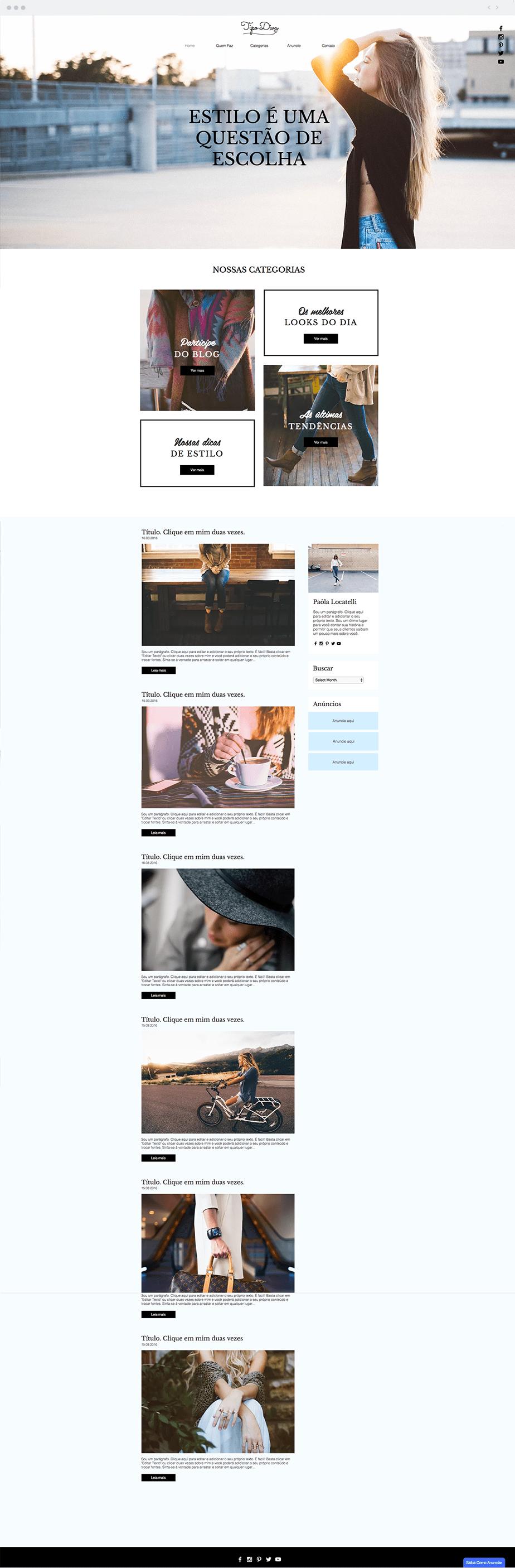"""Template Wix """"Blog de Roupas & Estilo"""""""