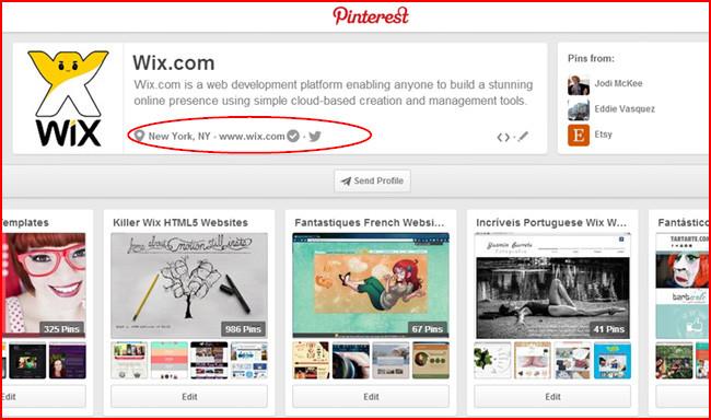 Wix no Pinterest