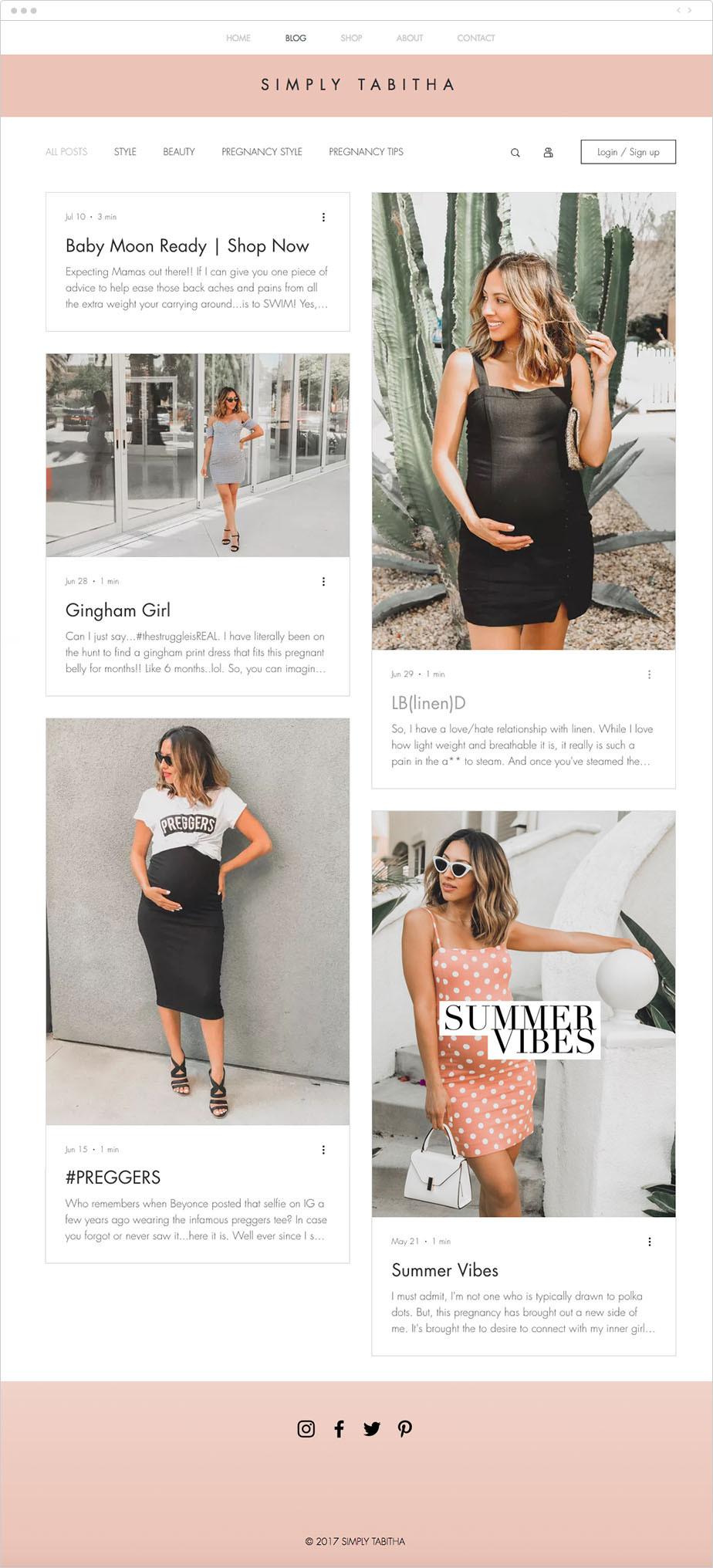 Simply Tabitha blog example