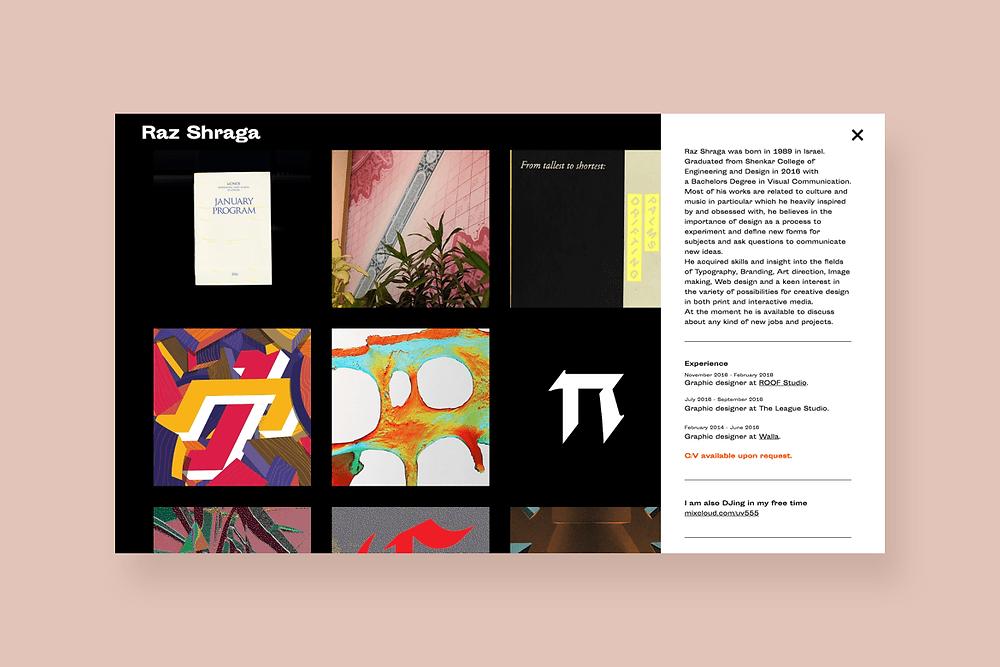 Graphic design website inspiration by Raz Shraga