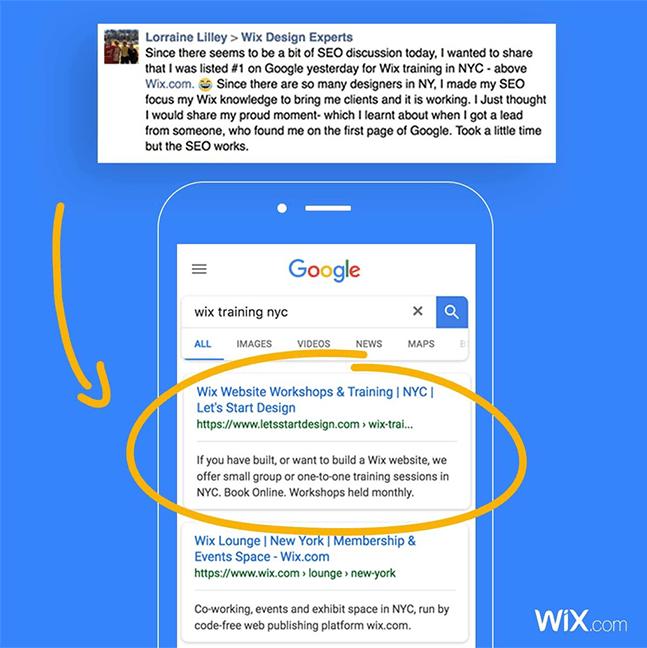 Wix social ideas: positive feedback