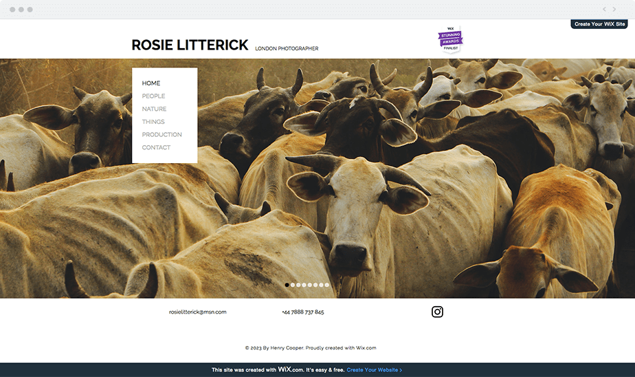 Wix Photography Websites Created for Free: Rosie Litterick