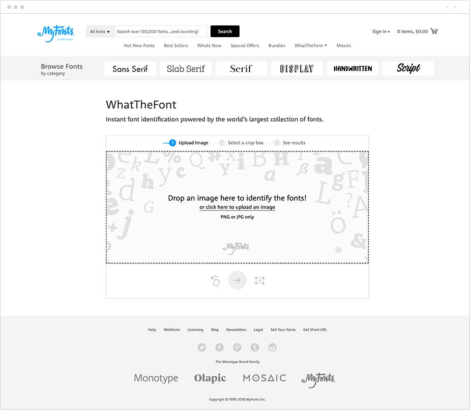 MyFonts ferramenta para encontrar fontes em imagens
