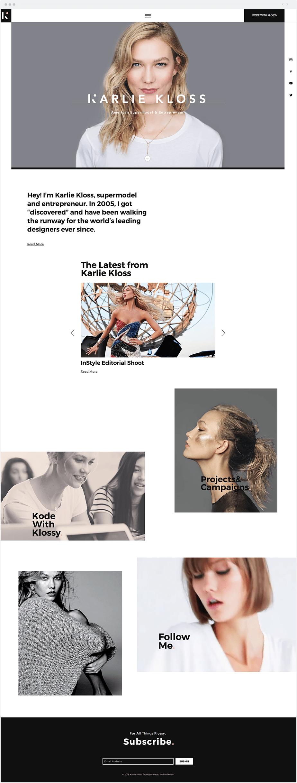 Site Wix da Modelo Karlie Kloss