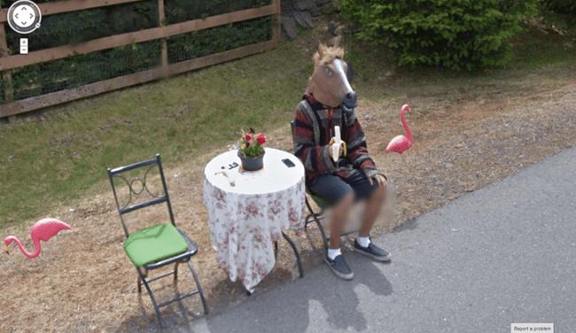 Weird Google Street View: horse mask and a banana