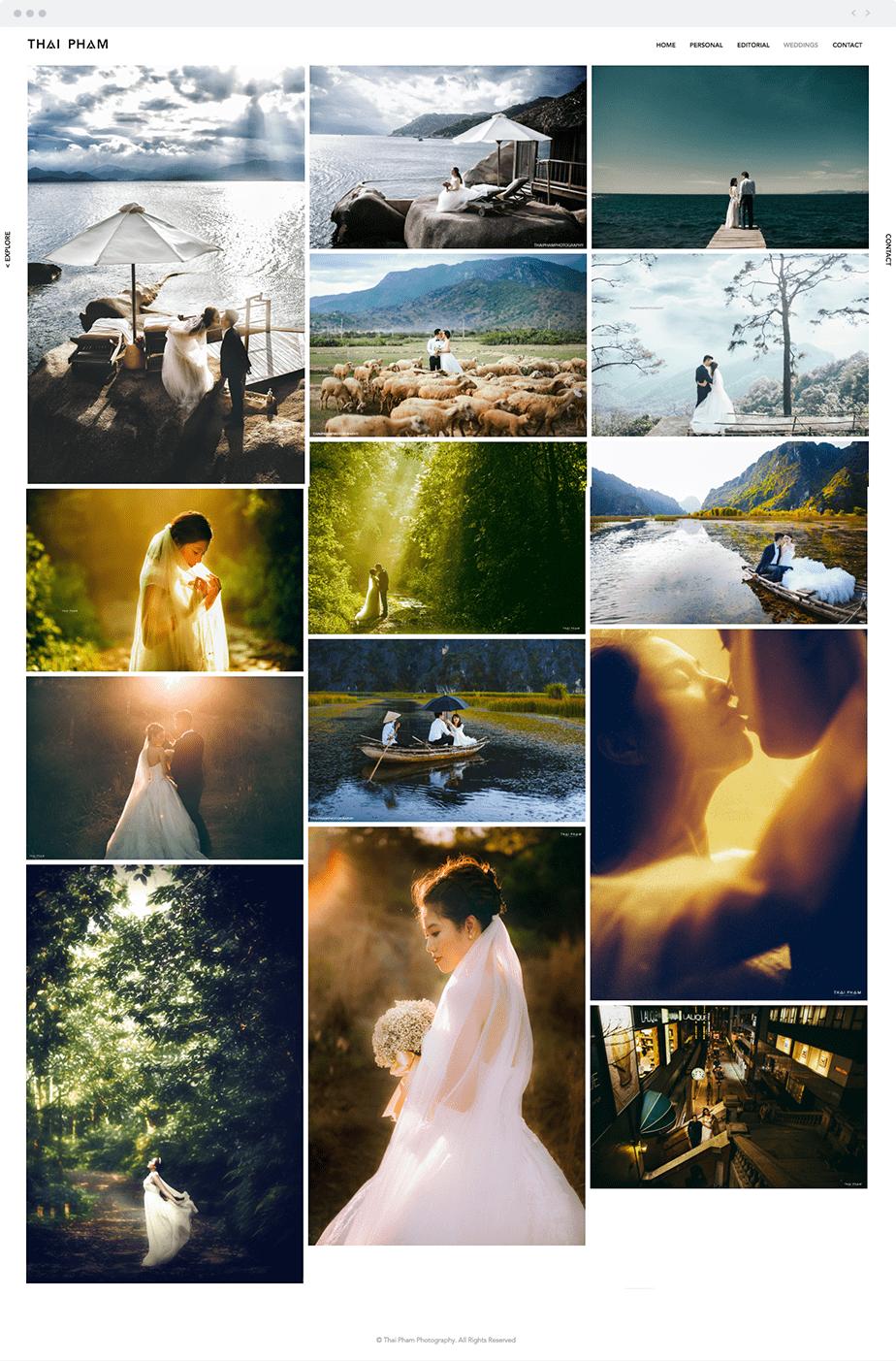 Stunning online portfolio by Wix wedding photographer Thai Pham