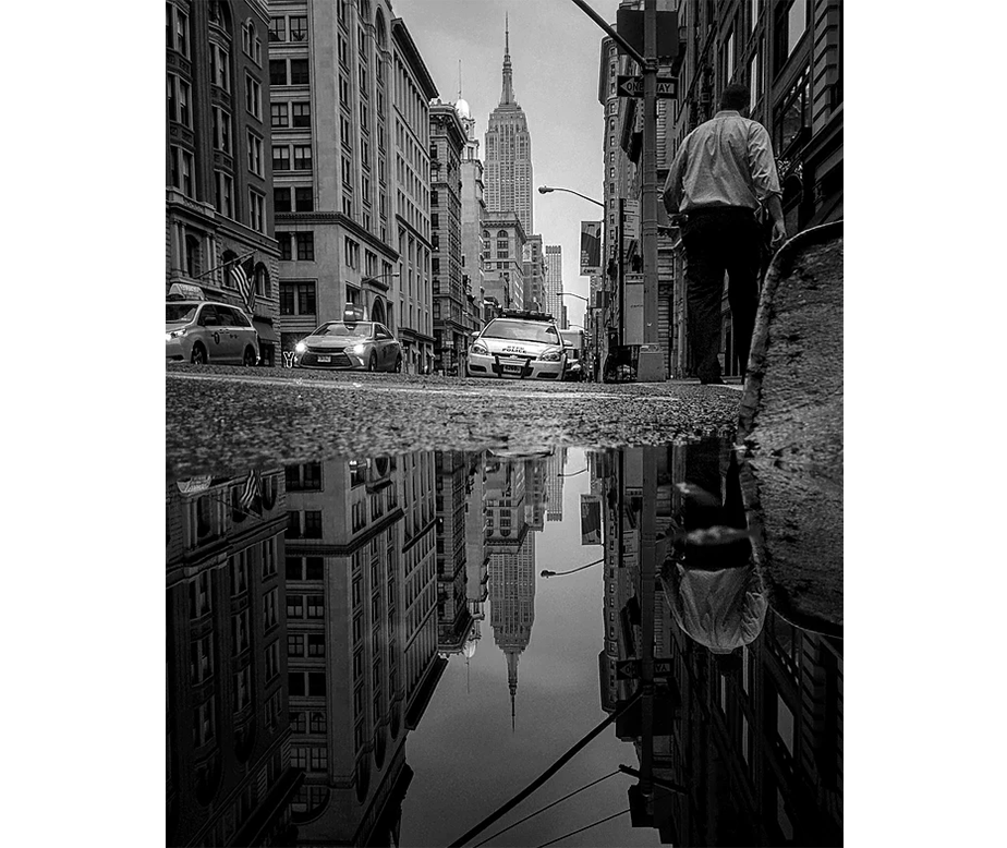Reflection photography in an New York City street