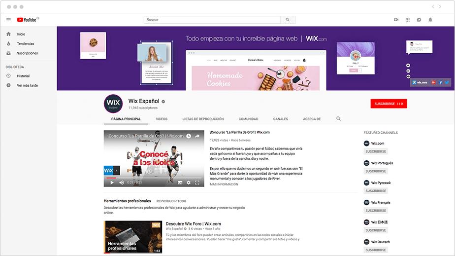 Canal de Youtube de Wix Español