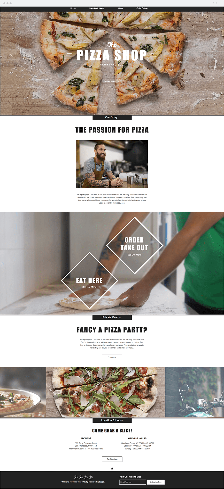 Pizza Restaurant Website Template