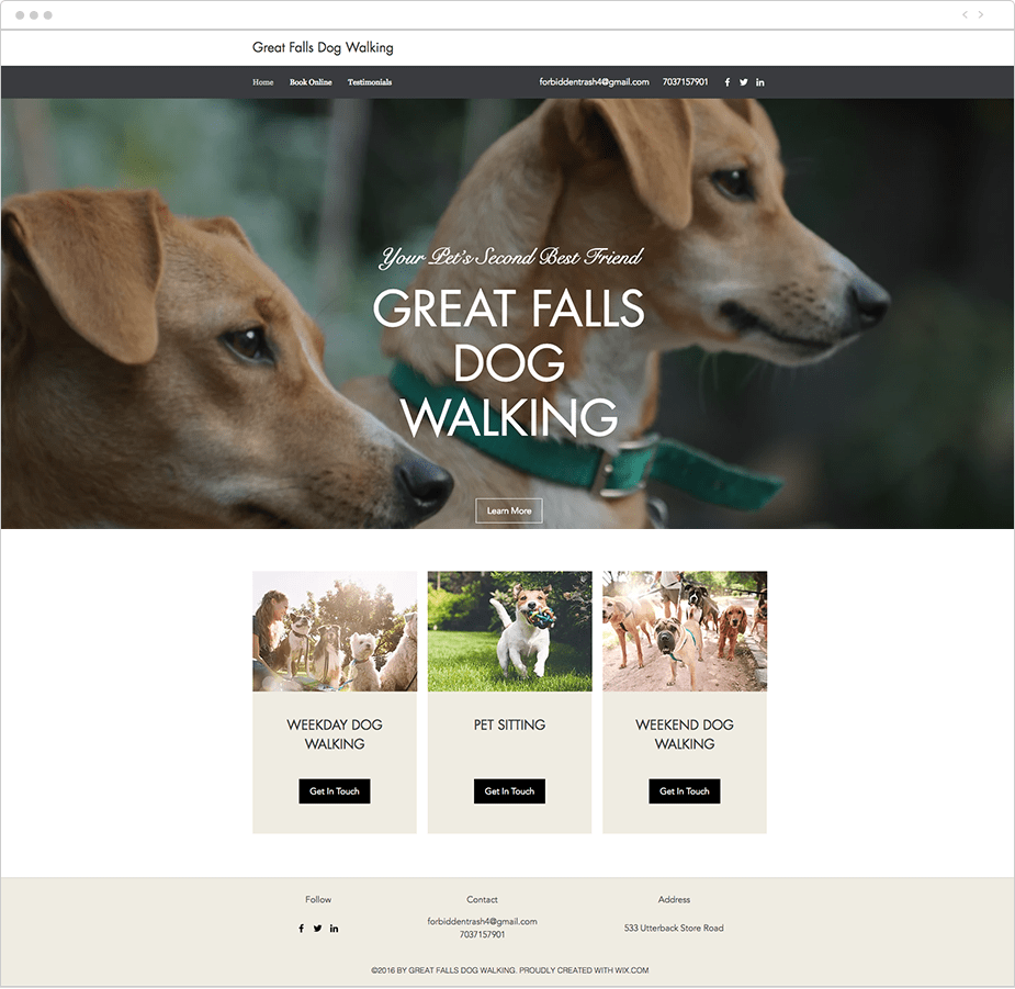 Site com Wix Bookings: Great Falls Dog Walking