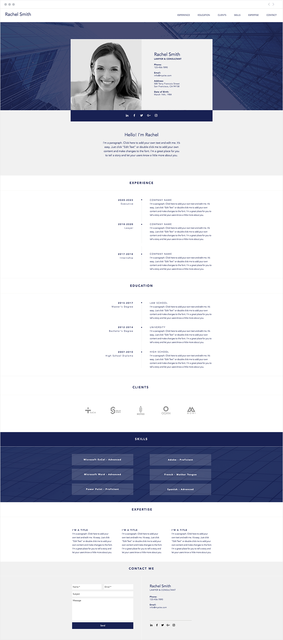 professional cv resume website template