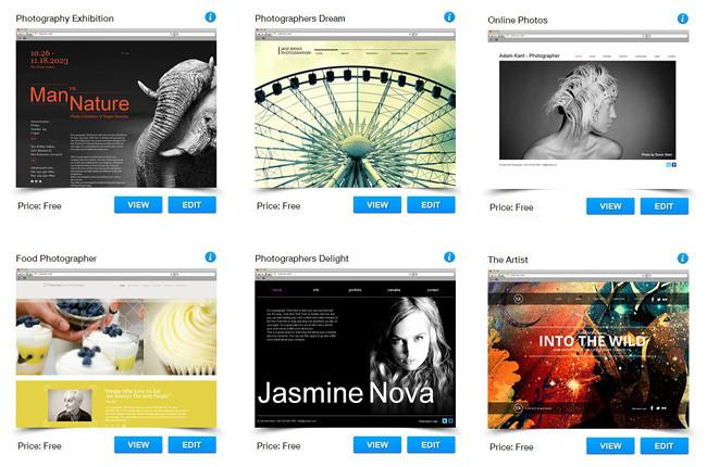 Templates de fotografia do Wix