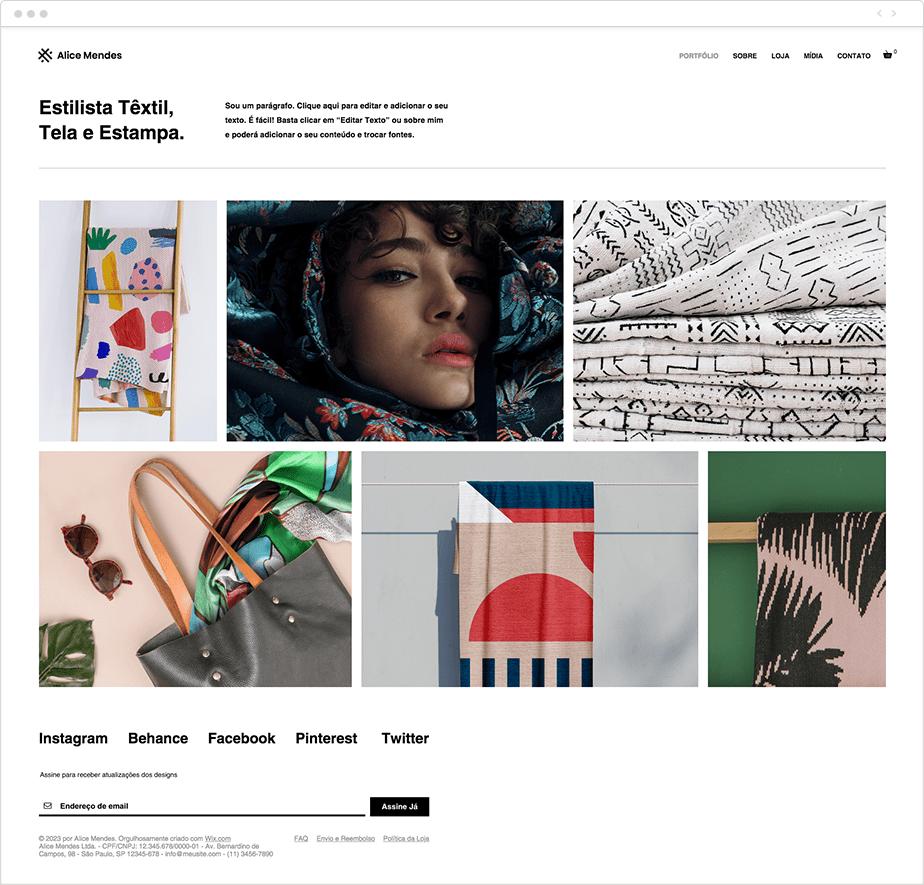 Template para Site de Designers Têxteis
