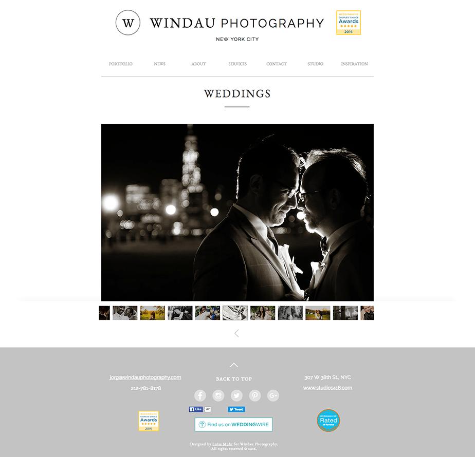 Beautiful Wix photography website by wedding photographer Windau