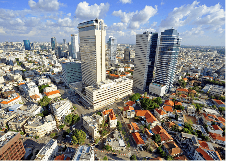 Tel Aviv cityscape from a rooftop