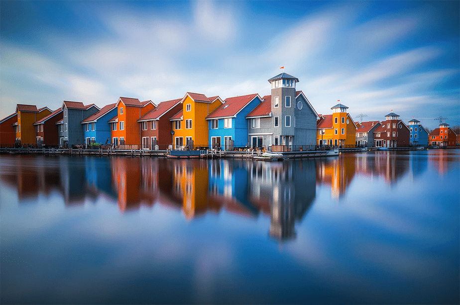 houses reflected on water